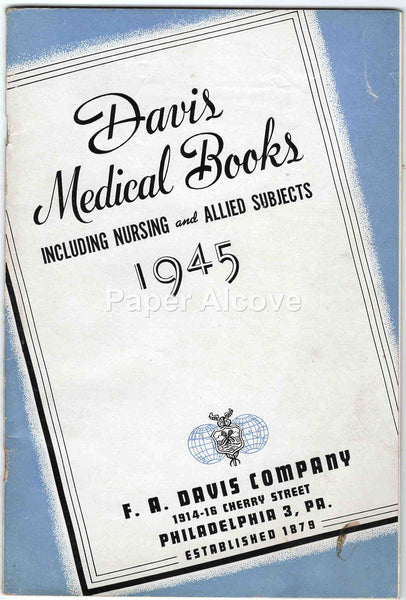 F.A. Davis Company Medical Books 1945 vintage original book catalog scientific publisher Philadelphia PA
