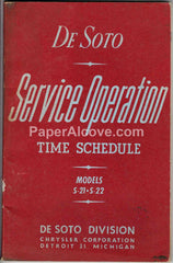 De Soto S-21 S-22 Service Operation Time Schedule 1955 Booklet