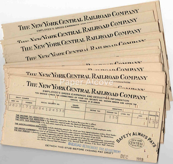 New York Central Railroad Company paystubs 1958 vintage original lot of 26 + Cleveland Union Terminals Company retirement R.J. Trommetter
