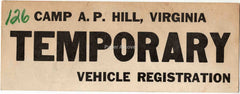 Fort Belvoir Camp A.P. Hill Virginia 1962 Temporary Vehicle Registration vintage original old U.S. Army military