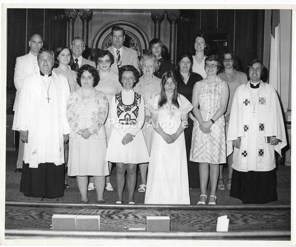 "Catholic Church group photograph with sleeping girl c. 1960s-1970s Ohio vintage original old 8"" x10"" photo"