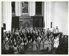 "Catholic Church group photograph c. 1940s-1950s Ohio vintage original old 8"" x10"" photo"
