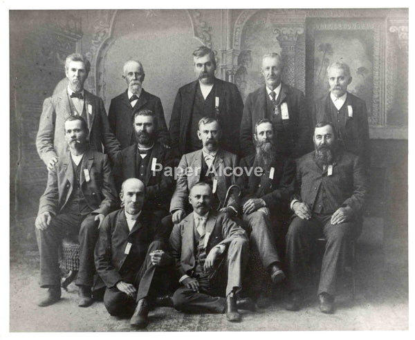 "Group of 12 Men with beards and moustaches vintage old c. late 19th or early 20th Century 8"" x 10"" photograph"