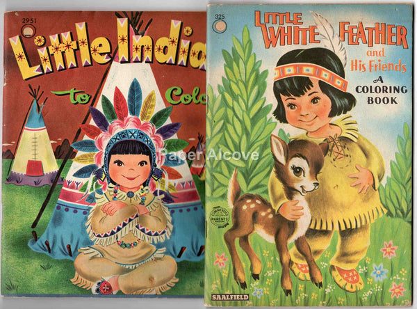 Native American Indians coloring books 1950s vintage original old Saalfield Whitman Little Indians to Color Little White Feather and His Friends