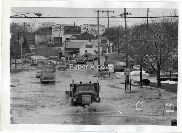 Vermilion Ohio snowmelt flooding photo 1970s-1980s vintage original photograph Crow Lumber Co.