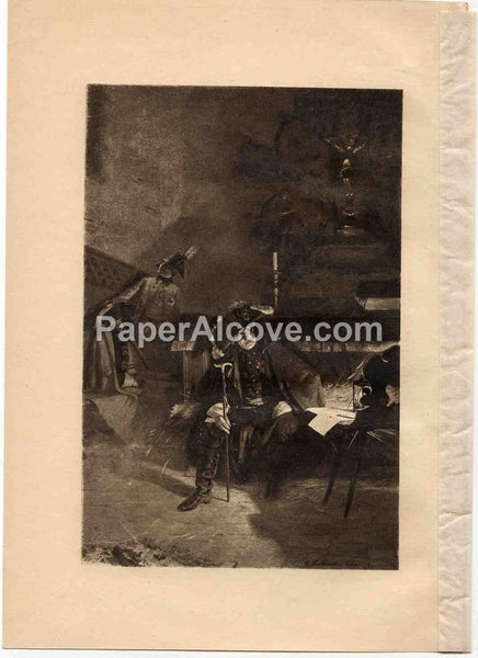 Night Before the Battle of Torgau 1897 vintage original print photogravure from a painting by R. Warthmuller Frederick the Great Prussia