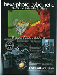 Canon A-1 camera 1980 vintage original old magazine ad photography butterfly