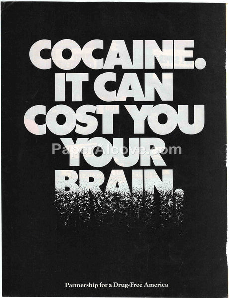Cocaine It Can Cost You Your Brain 1990 vintage original old magazine ad Partnership for a Drug-Free America
