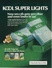 Kool Super Lights Cigarettes 1980 vintage original old magazine ad tobacco