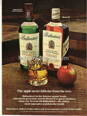 Ballantine's 30 year old Scotch Whisky The apple never falls far from the tree 1980 vintage original old magazine ad retro bar
