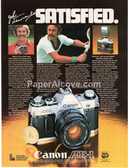 Canon AE-1 camera 1980 vintage original old magazine ad photography John Newcombe tennis moustache