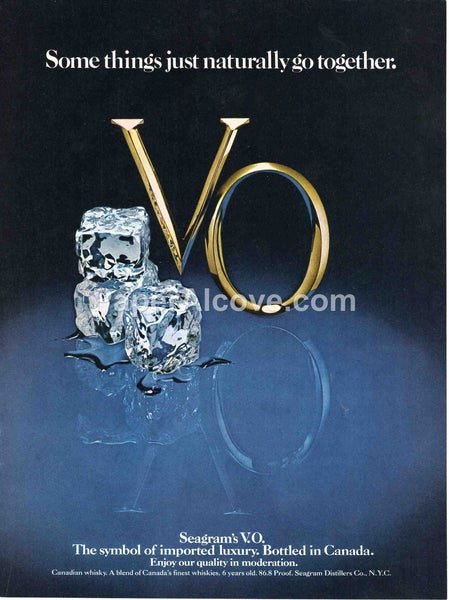 Seagram's V.O. Canadian Whisky Some things just naturally go together 1980 vintage original old magazine ad retro bar