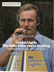 Golden Lights cigarettes 1980 vintage original old magazine ad retro man with moustache