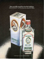 Bombay Dry Gin Join us in the royal box for the holidays 1980 vintage original old magazine ad bar decor