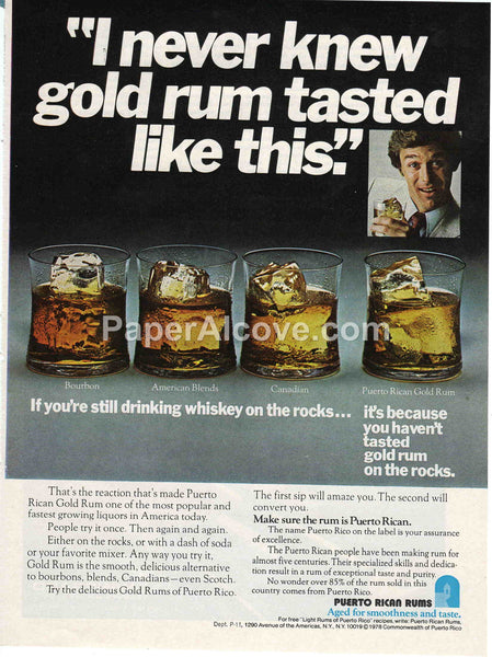 Puerto Rican Rums I never knew gold rum tasted like this 1980 vintage original old magazine ad