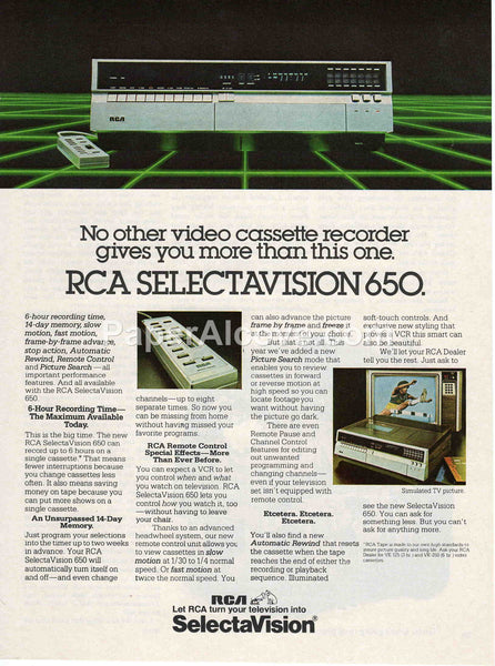 RCA Selectavision 650 VCR 1980 vintage original old magazine ad retro video equipment