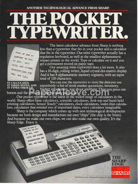 Sharp Electronics Memowriter EL-7000 calculator mini-typewriter 1980 vintage original old magazine ad retro computers Paramus New Jersey