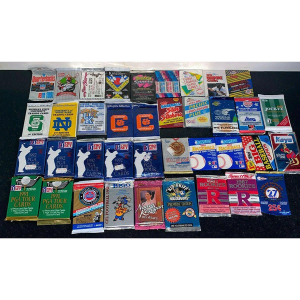 (38)-Vintage Unopened Wax Packs Cards-Lot Baseball Football Golf Bowling Hockey