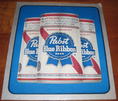 Pabst Blue Ribbon PBR Beer Cans Vintage Cardstock Sign