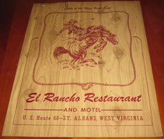 El Rancho Restaurant and Motel St. Albans WV 1960s Menu cowboy Charleston Blenko