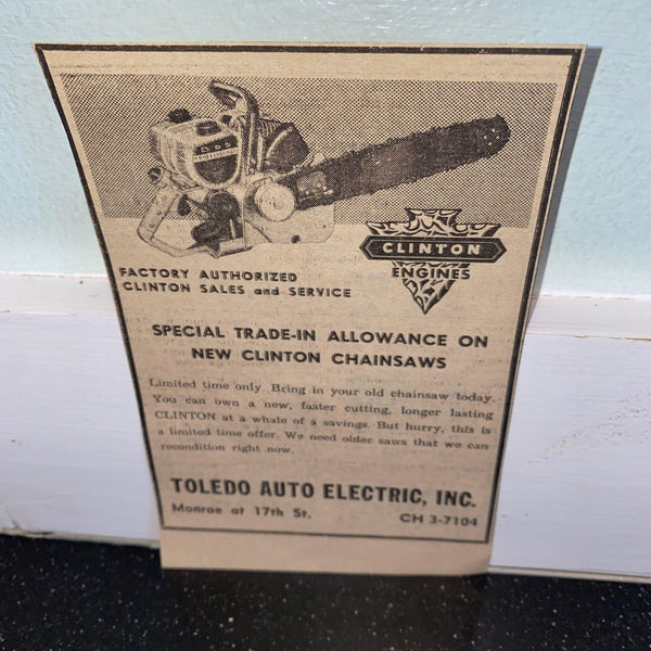 Clinton Engines Chainsaw 1960 newspaper ad Toledo Auto Electric