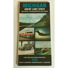 Michigan 1974 Official Transportation Map Travel Road State Highways Lansing