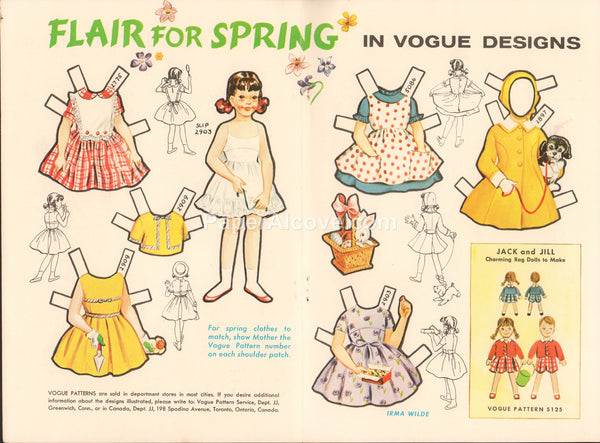 Flair for Spring Jill vintage 1961 old uncut paper doll in Vogue Designs Irma Wilde