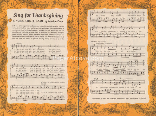 Sing for Thanksgiving 1961 old vintage sheet music pages Singing Circle Game by Marian Penn