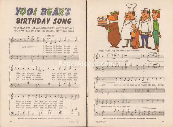 Yogi Bear's Birthday Song 1961 old vintage sheet music pages