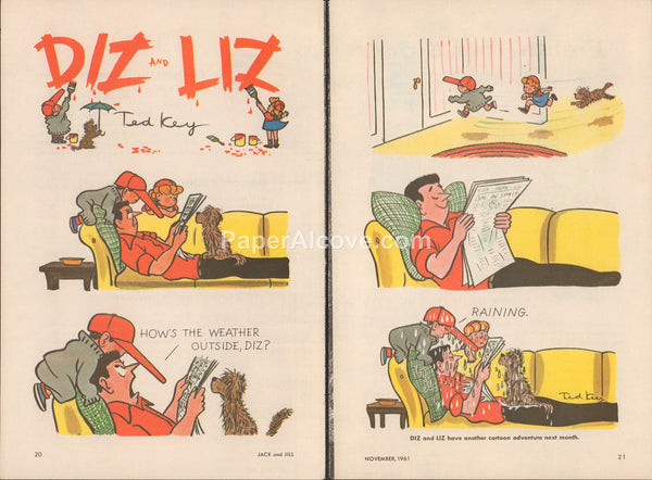 Diz and Liz 1961 old vintage print illustrated comic strip Ted Key cartoon 2 pages kids bothering dad reading newspaper