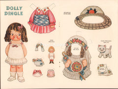 Dolly Dingle vintage 1959 old uncut paper doll Josie Pussy Precious cat