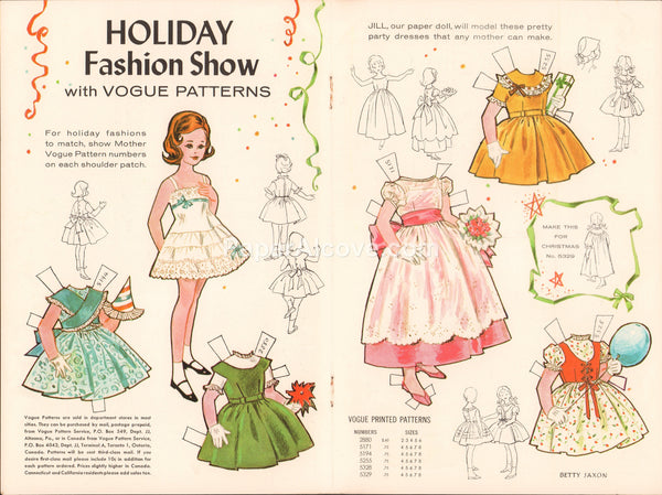 Holiday Fashion Show Jill vintage 1961 old uncut paper doll with Vogue Patterns Betty Jaxon