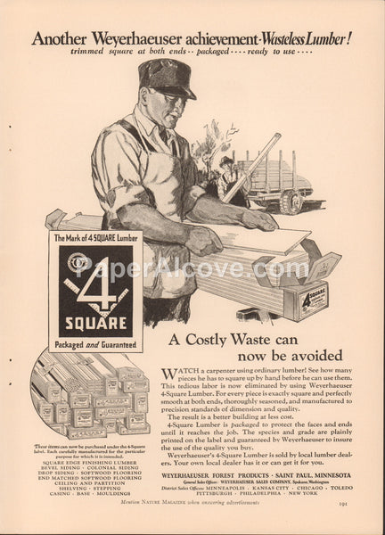 Weyerhaeuser Forest Products 1928 vintage original old magazine ad 4 Square Wasteless Lumber Saint Paul MN home building