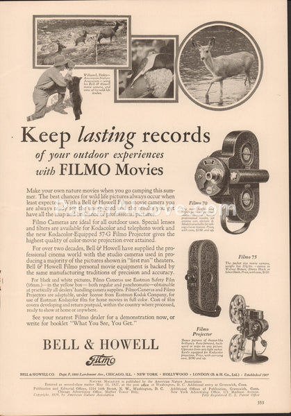 Bell & Howell Filmo 70 75 movie camera projector 1929 vintage original old magazine ad photography deer bear birds