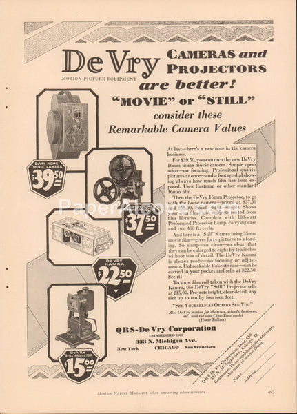 DeVry Home Movie Camera Projector Kamra 1929 vintage original old magazine ad photography Chicago IL