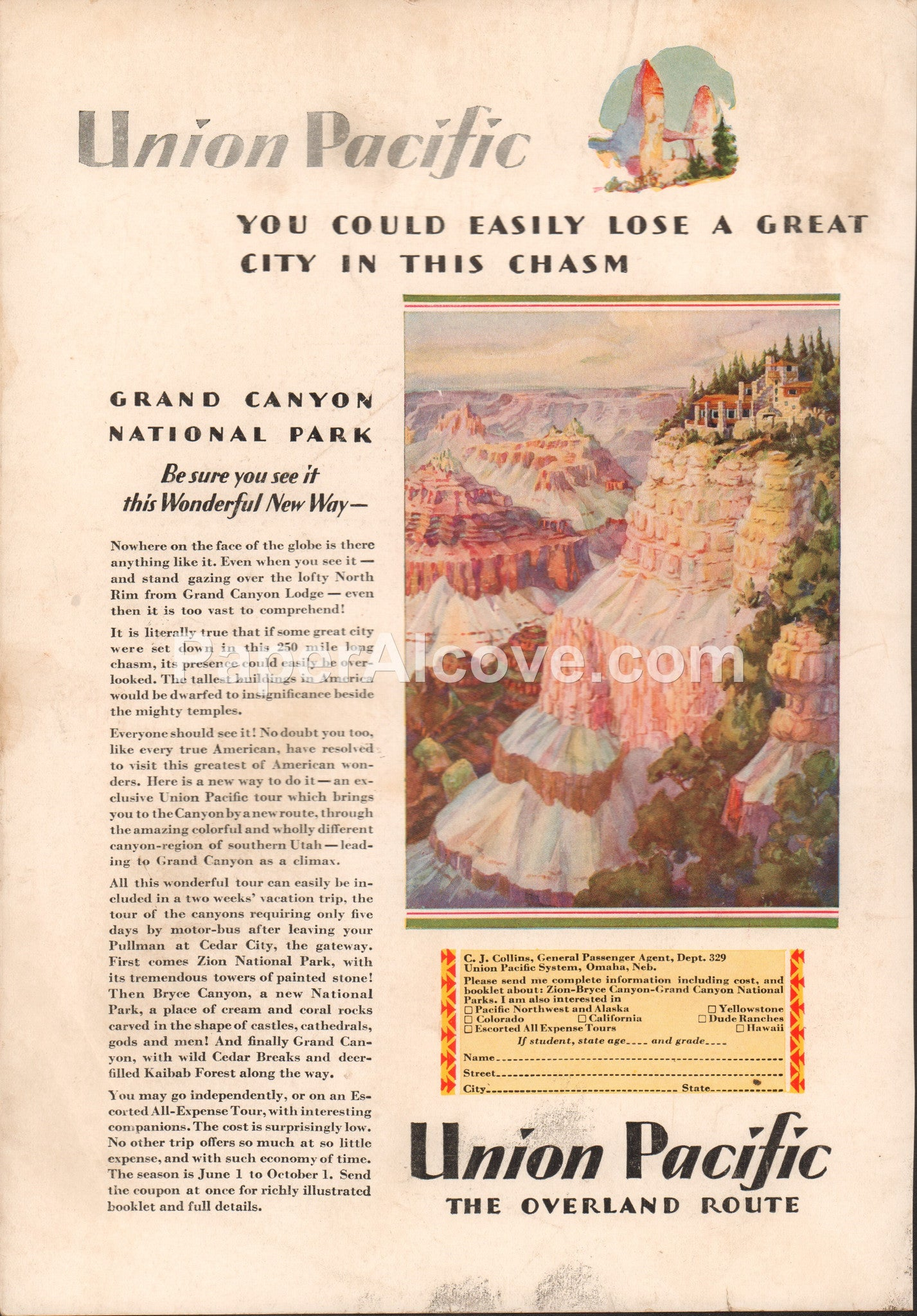 Union Pacific Grand Canyon National Park 1929 vintage original old magazine  ad railroad train Omaha NE