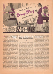 How to Run a Swap Shop 1947 vintage original old magazine article resale thrift consignment business