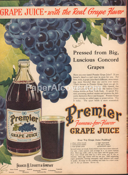 Premier Concord Grape Juice 1947 vintage original old magazine ad Francis H. Leggett & Company