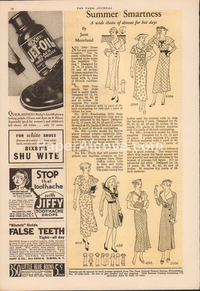 Summer Smartness 1934 vintage original old magazine ad dresses women's fashion patterns