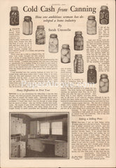 Cold Cash from Canning 1934 vintage original old magazine article kitchen cabinet design mason jar canning business