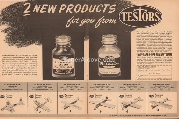 Testors Airplane Model Paint 1952 vintage 2 page original old magazine ad Polystyrene Cement Testor Chemical Rockford IL
