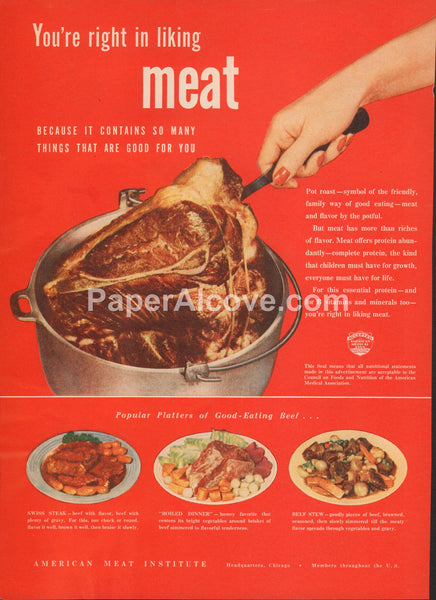 You're Right in Liking Meat Pot Roast 1947 vintage original old magazine ad American Meat Institute