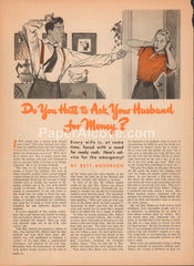 Do You Hate to Ask Your Husband for Money? 1947 vintage 2 page original old magazine article man yelling at woman