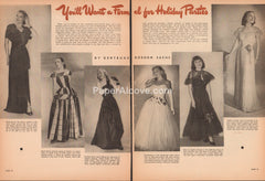 You'll Want a Formal for Holiday Parties 1947 vintage 2 page original old magazine article retro fashion women's dresses