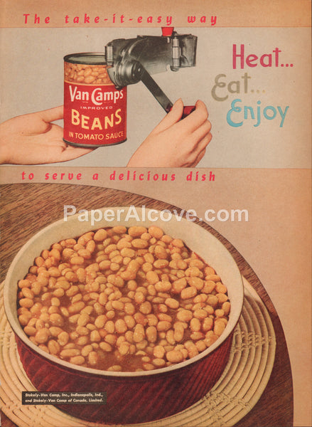 Van Camps Beans in Tomato Sauce can 1947 vintage original old magazine ad can opener Stokely-Van Camp Indianapolis IN