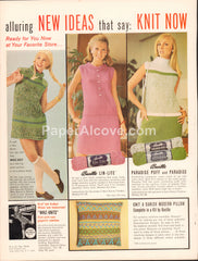Bucilla knitting yarn 1968 vintage original old magazine ad retro knit dresses Lin-Lite Paradise Puff Danish Modern Pillow