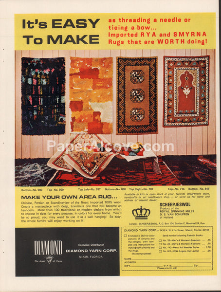 Diamond Yarn Corp. 1968 vintage original old magazine ad retro Rya Smyrna Rugs Miami FL