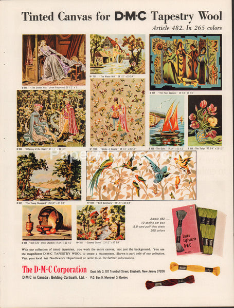 D.M.C. Corporation Tapestry Wool 1968 vintage original old magazine ad retro tinted tapestries
