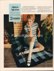 Brunswick Knitting Yarns 1968 vintage original old magazine ad retro blue striped fashion worsted mills Pickens SC