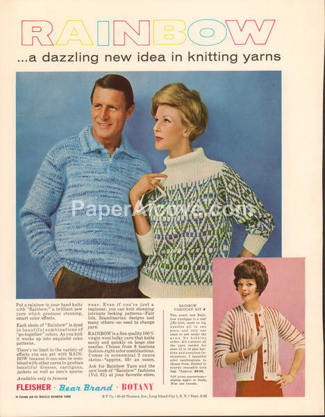 Rainbow Knitting Yarn 1962 vintage original old magazine ad Fleisher Bear Brand Botany Long Island City NY sweaters